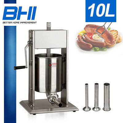 10 Liter Commercial Sausage Stuffer 20LBS 2 Speed Stainless Steel Meat Press