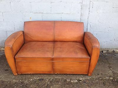 Rare, Antique, Rustic, Vintage, French, Leather Moustache Club Sofa, Mint
