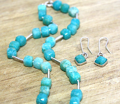 Natural Brazil Teal Amazonite Necklace and Drop Earrings Solid Sterling Silver