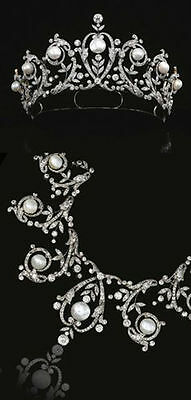 Royal Victorian 19.60ct Pave Rose Cut Diamond jewelry Pearl Tiara & Necklace
