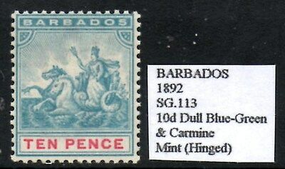 Barbados 1892  10d Dull Blue-Green   SG.113  Mint (Hinged)