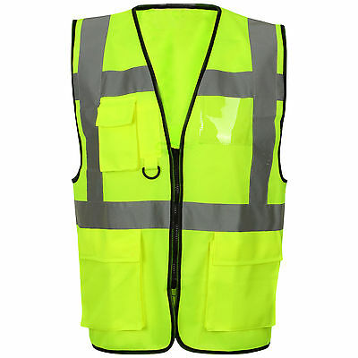 Yellow Hi-Viz Vest Zip Front Pockets Phone Pocket Size Large