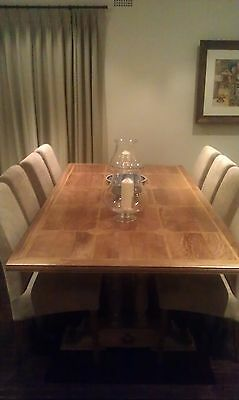 French Provincial Style Dining Table with 8 x Upholstered Chairs