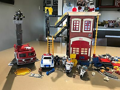 Imaginext Fire Station With Fire Truck And Police Car