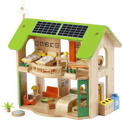 *NEW wooden DOLLHOUSE ~ 2 LEVEL ECO HOUSE childs DOLLS HOUSE + 6 ROOMS FURNITURE