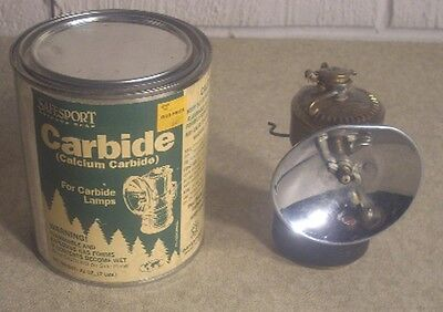 """Vintage Miners Brass Justrite Carbide Miners Lamp 3"""" Reflector W/ Safesport Can"""