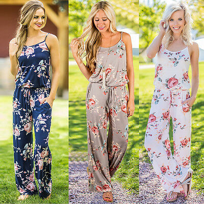 UK Women Off Shoulder Floral Playsuit Ladies Summer Romper Long Jumpsuit Trouser