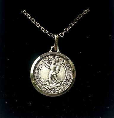 St Saint Michael The Archangel Silver Medal Necklace Pendant - Gift Boxed