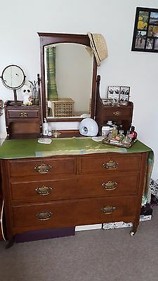 Large antique dressing table with drawers and removable mirror (& chair 4 sale)