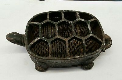 Vtg Bed of Nails Metal Flower Frog ( Turtle ) 2 pc. Cast Iron  made in Japan