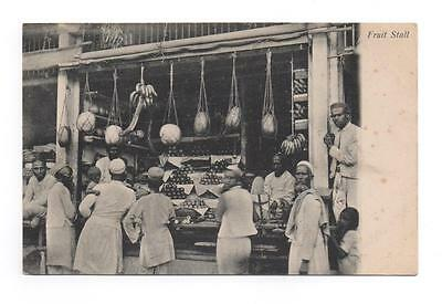 Vintage Postcard - Fruit Stall - India Early 20th century - Unposted