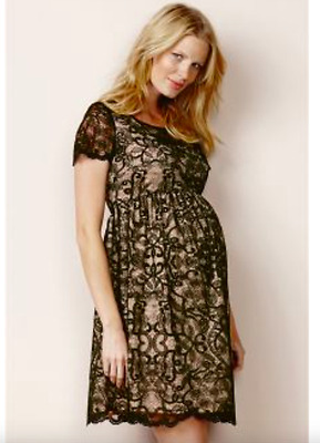 ex Next Maternity Black & Beige Lace Skater Wedding Party Dress RRP£52 Sizs 8-22