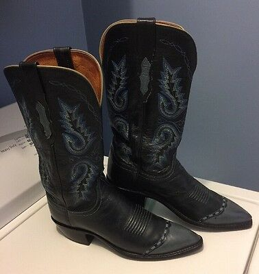 Lucchese 1883 Black Leather Blue Stitching Cowboy Boots Women's Size 8B
