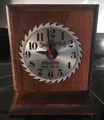 Vintage Sears Roebuck Co Craftsman Battery Powered Saw Blade Shop Clock Wood