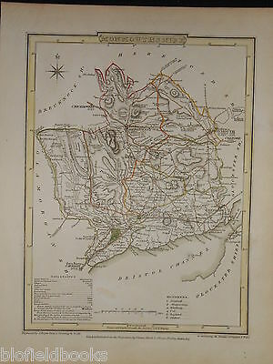 Original Welsh Antiquarian Map of Monmouthshire c1850 (Wales, Geography)