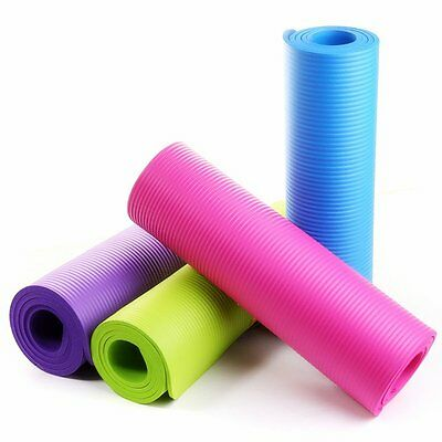 Exercise Yoga Gym Fitness Pro-workout 15mm Thick Mat Non-Slip Pilates with Strap