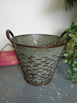 Vinttage Turkish Galvernized Tin Olive, Grape, Picking Bucket