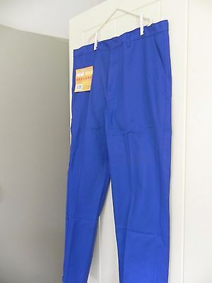 "VINTAGE FRENCH BLUE COTTON WORK TROUSERS WORKWEAR ARTISAN HOBO T52 40"" waist"