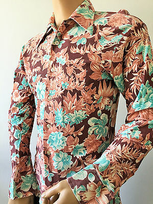 70's Floral Patterned Men's Retro Party Shirt Kmart Vtg 38in X 15.5in Small UK
