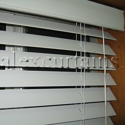 Ecowood Venetian Blinds, Size: 135x137cm, 50mm Slat, Colour: White
