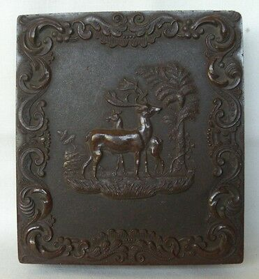 ANTIQUE 1850's DAGUERREOTYPE AMBROTYPE IN RARE CARVED DEER & THE PINE TREE CASE