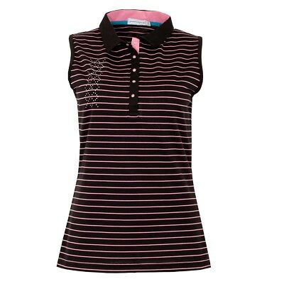 New Green Lamb Ladies Cora Sleeveless Striped Polo Shirt Golf Top