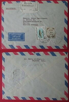 IRAQ to germany 1969 registered cover BAGHDAD tax fish 100F stamps