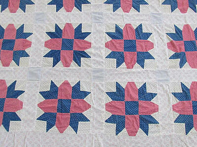 ANTIQUE c1900 Double Pink Indigo Blue Shirting Prints QUILT TOP