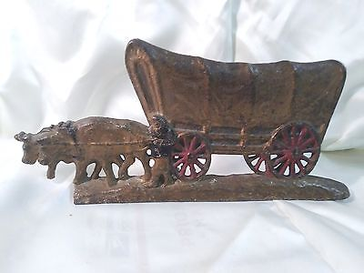 Vintage Antique Cast Iron Doorstop Door Stop OXEN COVERED WAGON