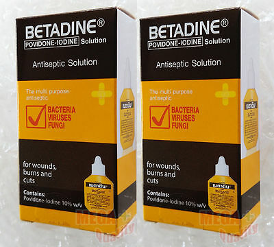 2 x 15 cc. BETADINE POVIDONE IODINE FIRST AID SOLUTION ANTISEPTIC CUTS WOUNDS