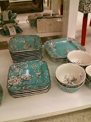 100%  BRAND NEW  222 Fifth Adelaide Turquoise -  SET of  12 SALAD PLATES