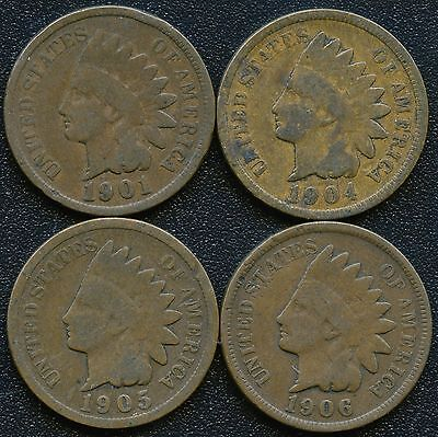 """1901 1904 1905 & 1906 United States """"Indian Head"""" 1 Cent Coins"""
