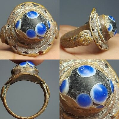 Very Old Mosaic Glass Medieval Bronze Ring # Z