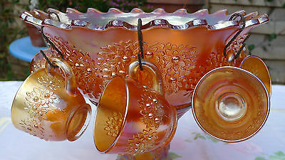 Vintage Fenton Carnival Glass Orange Punch Bowl, Stand, 6 cups and hooks