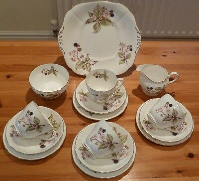 Adderley Bramble Bone China Tea Set - Pink Flowers and Berries, Pattern H545