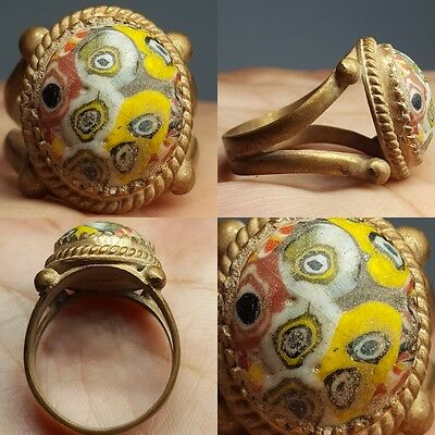Very Old Mosaic Glass Unique Wonderful Ring # Z