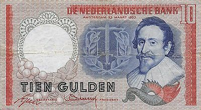 Netherlands  10  Gulden  23.3.1953  Series 4LH  Circulated Banknote L