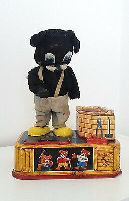 Vintage Blacksmith Bear battery operated toy 1950's, A1 Toys Japan. WORKS! RARE!