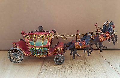 Vintage Wells Brimtoy tinplate penny toy Royal coronation coach carriage-rare