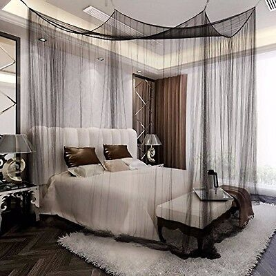 Full King Size Mosquito Net Four Corner Bed Canopy Bug Queen Insect Black
