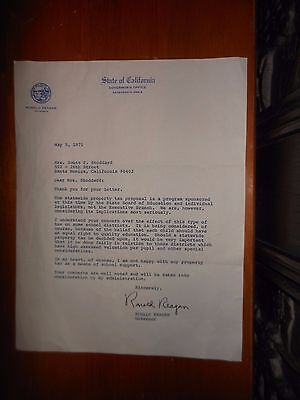Original Letter Signed By Governor Ronald Reagan - Tax Reform 1971