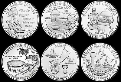 2009 WASHINGTON D.C.AND U.S. TERRITORIES QUARTER COMPLETE 6pc SET UNCIRCULATED