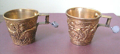 Set of (2) Beautiful Hand Made Brass? Cups Ancient Greece Style w/Stamped Tags