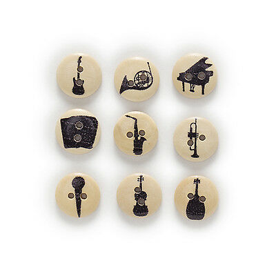 50pcs 2 Hole Musical Round Wood Buttons Sewing Scrapbooking Clothing Decor 15mm