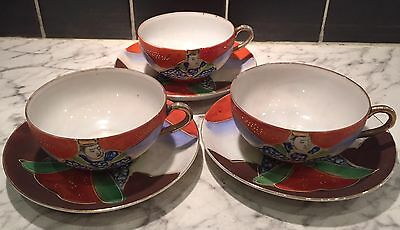 VINTAGE JAPANESE EGG SHELL HAND PAINTED 3 CUPS and 6 SAUCERS