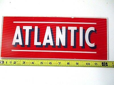 Vintage Atlantic gas pump glass original sign 12 1/2 x 5