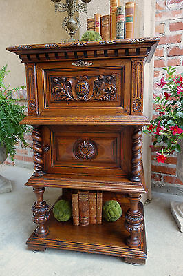 Antique French Carved Oak Cabinet Table Desk BARLEY TWIST NIGHTSTAND Pedestal