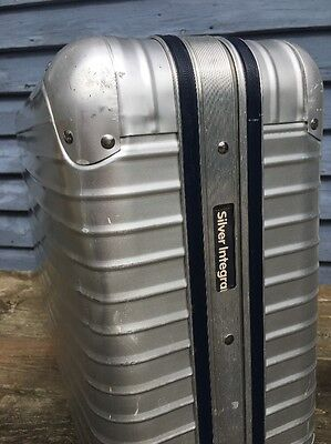 """Vintage Rimowa Silver Integral 25"""" Aluminum Suitcase Rare Made In Germany Super!"""