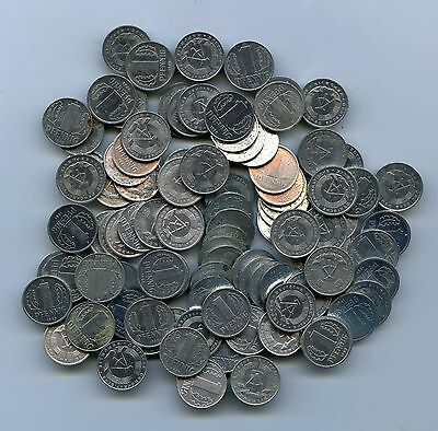 Lot of (100) EAST GERMAN DDR Germany One 1 Pfennig Coins (1960s-1980s)