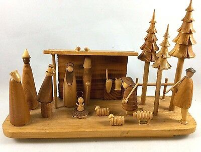 Vintage Hand Made Wood Nativity Scene - Hand Carved Wooden Scene Made in Poland